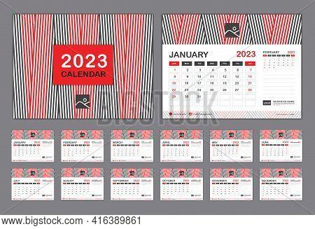 Calendar 2023 Template Vector, Set Desk Calendar 2023 Template, New Year Calendar In A Minimal Trend