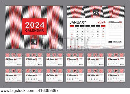 Calendar 2024 Template Vector, Set Desk Calendar 2024 Template, New Year Calendar In A Minimal Trend