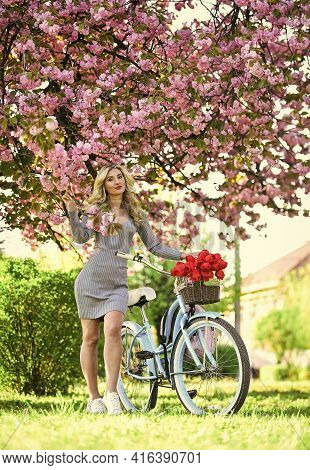 Travel By Bike. Weekend Concept. Spring Holidays. Riding Bicycle. Excursion To Garden. Girl And Saku