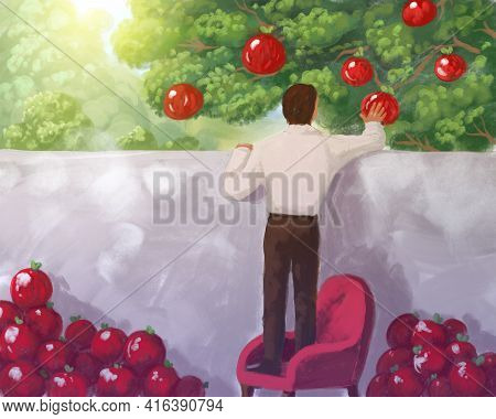 Illustration, Metaphor Of Greed, Accumulation, Overabundance, Excess, Hoarding. Man Picking Fruit