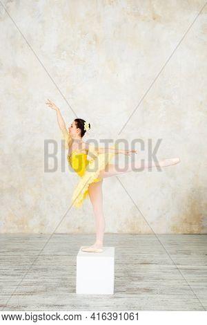 Young Modern Ballet Dancer In Yellow Dress Posing In The Light Ballet Room