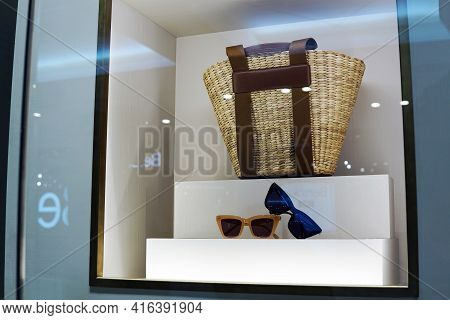 Moscow, Russia - April 9, 2021: Fashion Accessories In A Shop Window. Style, Fashion, Presentation.