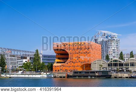 Lyon, France - August 22, 2019: The Orange Cube Building At Confluence Harbor In Lyon, France