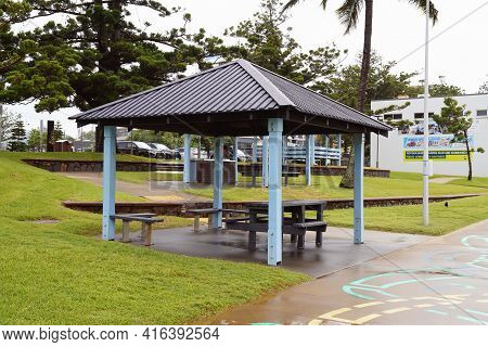 Yeppoon, Queensland, Australia - April 2021: Picnic Shade Structures On The Beachfront Available For