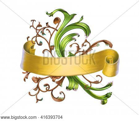 Golden banner with an ornamental background. Hand-drawn digital illustration.