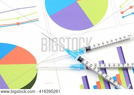 Medical Syringe Against The Background Of Infection Spread Graph