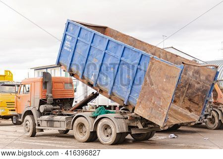 Moscow Region. Russia. Autumn 2020. Garbage Truck At The Sorting Station. Large Construction Waste T