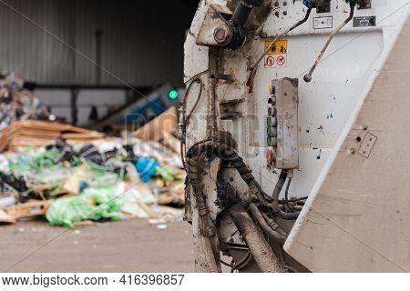 Moscow Region. Russia. Autumn 2020. Garbage Truck At The Sorting Station. Garbage Truck For Recyclin