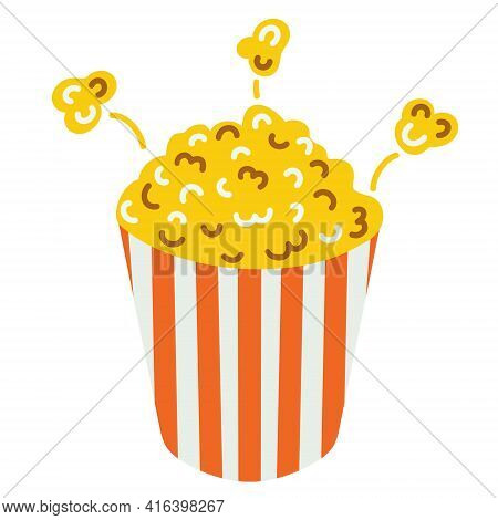 Vector Illustration Of Popcorn. An Isolated Image Of A Snack On A White Background. Popcorn In A Box