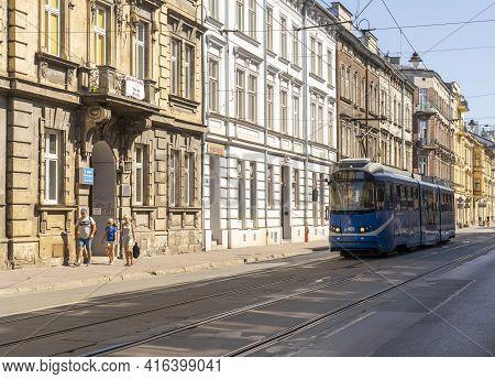 Krakow Poland August 2020. Street Scene In Krakow, Lesser Poland, Poland