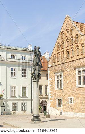 Krakow Poland August 2020. Piotr Skarga Monument, Krakow, Old Town, Lesser Poland, Poland