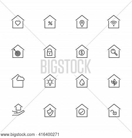 Set Of Smart Home Icon. Simple Outline Residence Property. Real Estate Vector Symbol 320x320 Pixels.