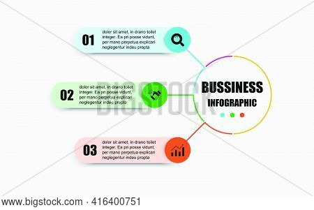 Presentation Business Infographic Template With 3 Options. The Creative Concept Combination Of Circl