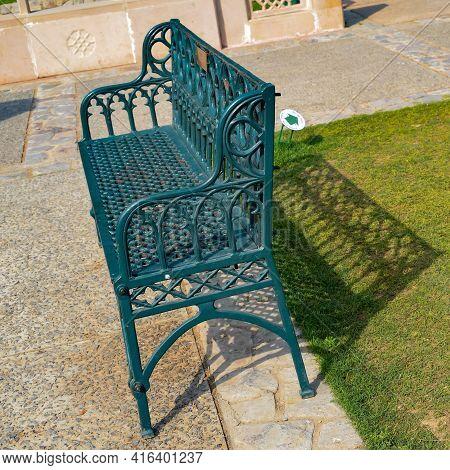 View Of Sitting Bench Inside Sunder Nursery In Delhi India, Sunder Nursery Is World Heritage Site Lo