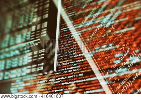 Abstract Information Technology Background. Modern Technologies Screen Concept. Macro Shot Of Displa