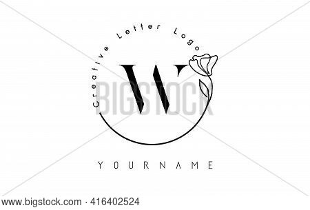 Creative Initial Letter W Logo With Lettering Circle Hand Drawn Flower Element And Leaf. Vector Illu