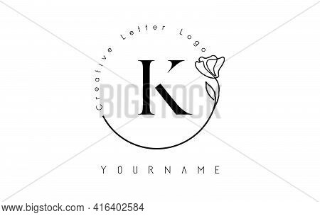 Creative Initial Letter K Logo With Lettering Circle Hand Drawn Flower Element And Leaf. Vector Illu