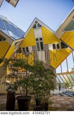 Rotterdam, Netherlands - July 03, 2018: Cube House - The Original Landmark Of Rotterdam