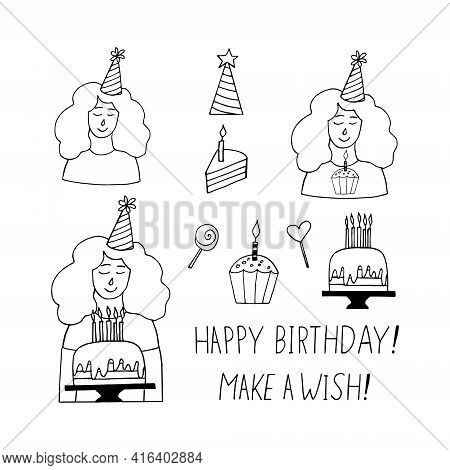 Young Woman In A Party Hat, Cake With Burning Candles, Cupcake, Lettering To Make A Wish, Happy Birt