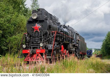 Ruskeala, Russia - August 15, 2020: Soviet Mainline Steam Locomotive Lv-0522 At Ruskeala Railway Sta