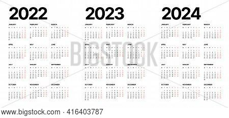 Calendar For 2022, 2023 And 2024 Years. Week Starts On Monday.