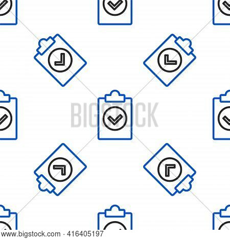 Line Completed Task Icon Isolated Seamless Pattern On White Background. Compliance Inspection Approv