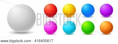 Colorful Balls. 3d Ball. Set Of Glossy Spheres And Balls On A White Background With A Shadow. Vector