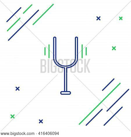 Line Musical Tuning Fork For Tuning Musical Instruments Icon Isolated On White Background. Colorful