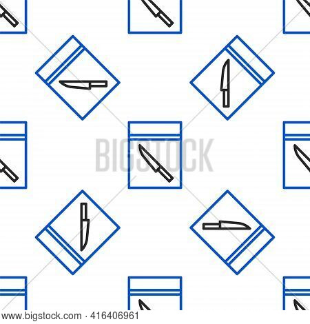Line Evidence Bag And Knife Icon Isolated Seamless Pattern On White Background. Colorful Outline Con