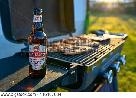 Bbq And Non Alcoholic Beer Mariestads In Evening Light