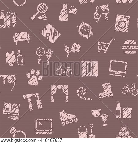 Shops, Seamless Pattern, Color, Hatching, Gray, Vector. Different Product Categories. Imitation Of P