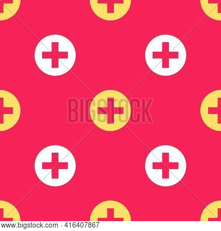 Yellow Cross Hospital Medical Icon Isolated Seamless Pattern On Red Background. First Aid. Diagnosti