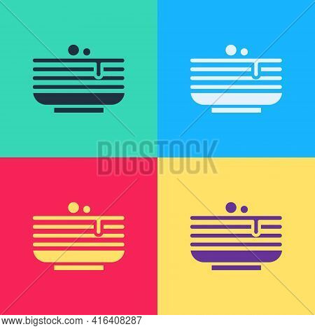 Pop Art Stack Of Pancakes Icon Isolated On Color Background. Baking With Syrup And Cherry. Breakfast