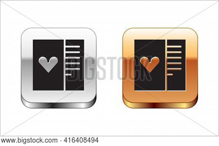 Black Postcard With Heart Icon Isolated On White Background. Message Love. Letter Love And Romance.