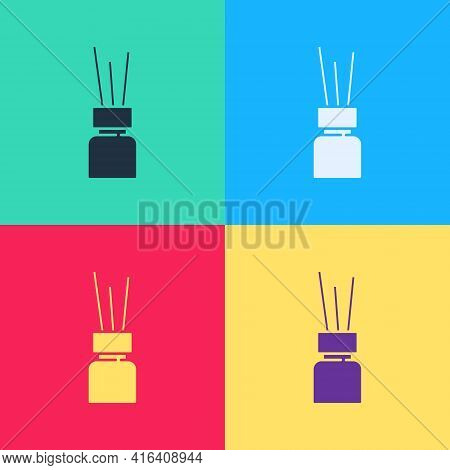 Pop Art Aroma Diffuser Icon Isolated On Color Background. Glass Jar Different With Wooden Aroma Stic