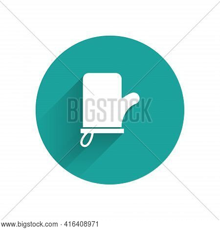 White Sauna Mittens Icon Isolated With Long Shadow. Mitten For Spa. Green Circle Button. Vector