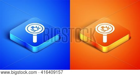 Isometric Flea Search Icon Isolated On Blue And Orange Background. Square Button. Vector