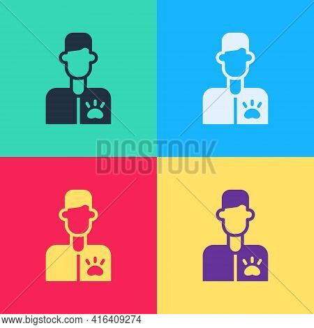 Pop Art Veterinarian Doctor Icon Isolated On Color Background. Vector
