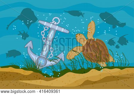 Sea Background. Anchor, Turtle And Fishes Silhouettes On A Blue Sea Background. Boat Anchor In The W