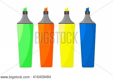 Colorful Marker Pens Set Isolated On White Background. Office Fighlighters Design Elements. Art Colo