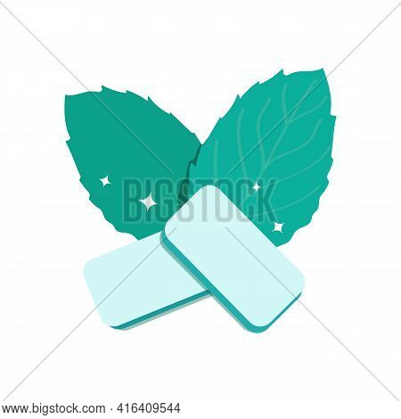 Mint-flavored Gum Pads. Fresh Green Mint Leaves. Product For Fresh Breath. Chewing Gum For Healthy T