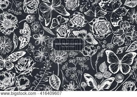 Floral Design With Chalk Shepherd S Purse, Heather, Iris Japonica, Sakura, Gypsophila, Chamomile, Al