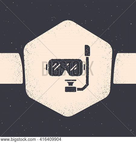 Grunge Diving Mask And Snorkel Icon Isolated On Grey Background. Extreme Sport. Diving Underwater Eq