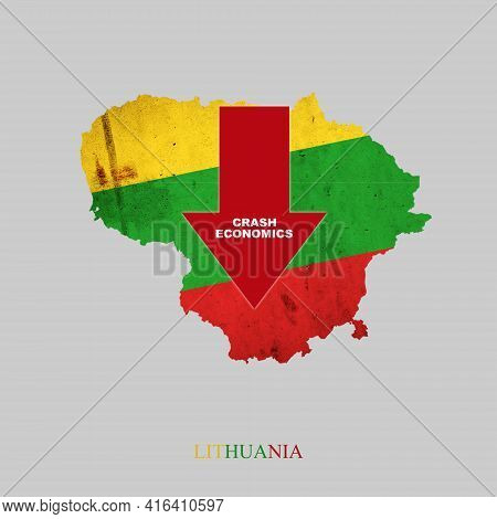 Crash Economics, Lithuania. Red Down Arrow On The Map Of Lithuania. Economic Decline. Downward Trend