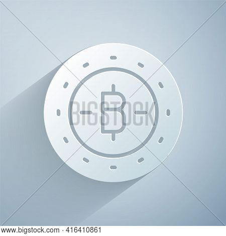 Paper Cut Cryptocurrency Coin Bitcoin Icon Isolated On Grey Background. Physical Bit Coin. Blockchai