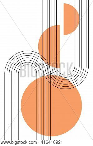 Abstract Poster With Boho Arches, Stripes, Simple Shapes In Warm Orange Colors. Interior Wall Poster