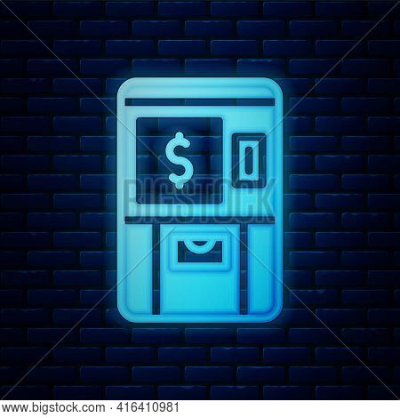 Glowing Neon Atm - Automated Teller Machine And Money Icon Isolated On Brick Wall Background. Vector