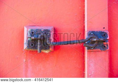 Door Security Latch Metal Hook On Red Door