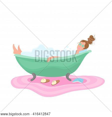 Vector Cartoon Illustration Woman In Bathroom Taking A Foamy Bath With Book And Mask With Cucumbers.