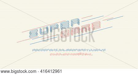 Alphabet Font. Capital Letters Of The Latin Alphabet. Slanted Dynamic Font.